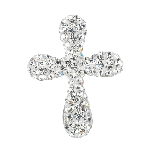 Silver Fancy Cross Pendant with White Crystal Style