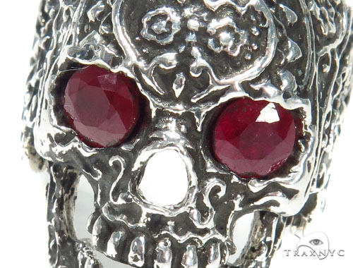 Skull Bezel Ruby Silver Ring 41504 Metal