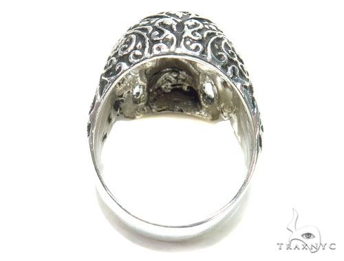 Skull Bezel Ruby Silver Ring 41504 Metal