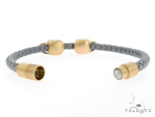 Skull Head Leather Bracelet 56484 Silver