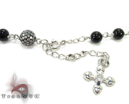 Skull Silver CZ Rosary Chain 28 Inches, 7mm, 87.7 Grams Silver
