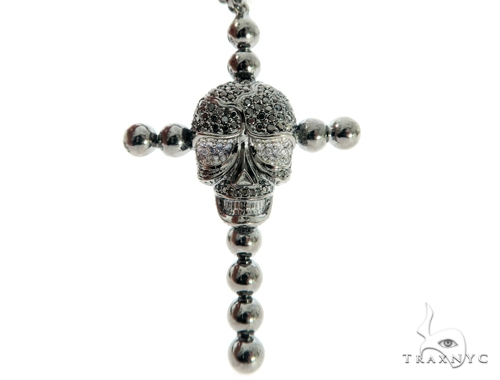 Skull and Cross Black Diamond Pendant Chain 49785 Metal