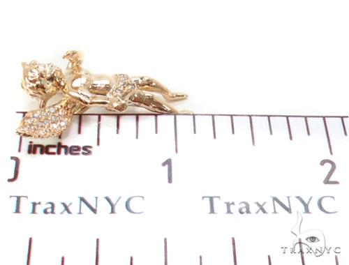 Small 14K Gold Diamond Angel Pendant Stone