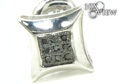 Small Round Cut Micro Pave Black Diamond Earrings Style