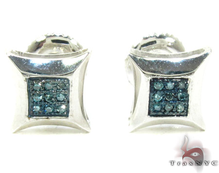 Small Round Cut Micro Pave Blue Diamond Earrings Style