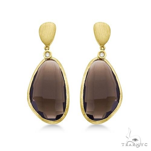 Smokey Topaz and Diamond Bezel Dangle Earrings 14k Yellow Gold Stone