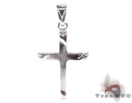 Solid 10K White Gold Cross Mens Gold Cross