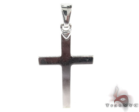 Solid 10K White Gold Cross Gold