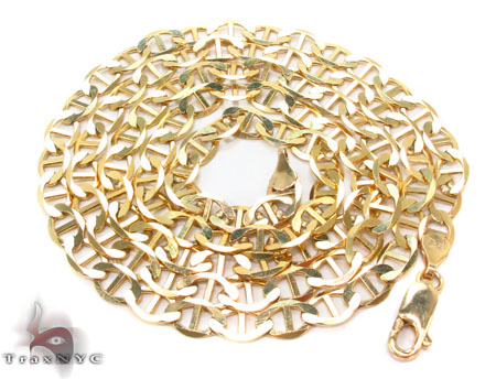 Solid Mariner Chains 24 Inches 3.5mm 4.7 Grams Gold