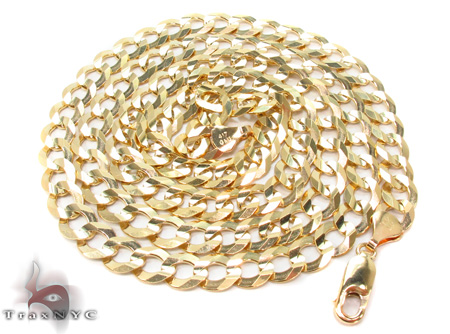 Solid Cuban Chain 22 Inches 7mm 22 Grams Gold
