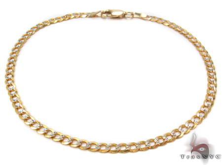Solid Cuban Diamond Cut Bracelet 8 Inches 3mm 2.6 Grams Gold