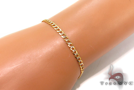 Solid Cuban Diamond Cut Bracelet 8 Inches 3.5mm 4.5 Grams Gold