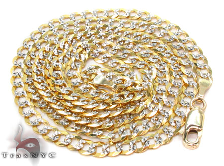 Solid Cuban Diamond Cut Chain 22 Inches 3.5mm 5.0 Grams Gold