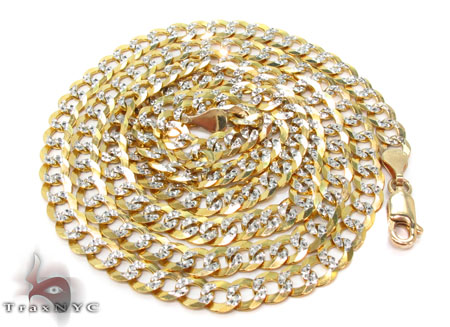 Solid Cuban Diamond Cut Chain 18 Inches 4mm 6 Grams Gold