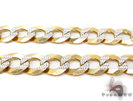 Solid Cuban Diamond Cut Chain 26 Inches 12mm 68.6 Grams Gold