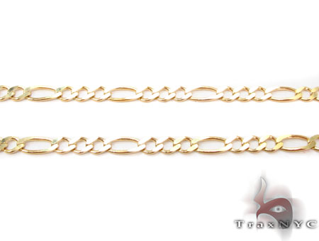 Solid Figaro Chain 22 Inches 3mm 4.49 Grams Gold