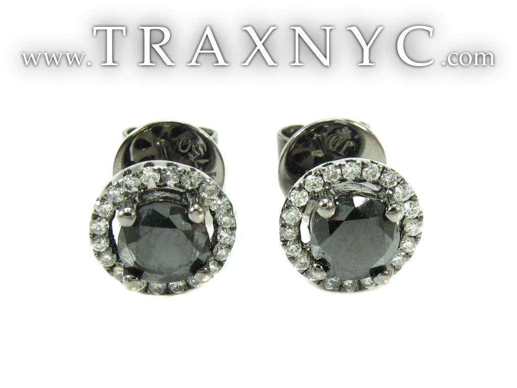 Solitaire Black Diamond Earrings Mens Diamond Stud Earring Gold 18k