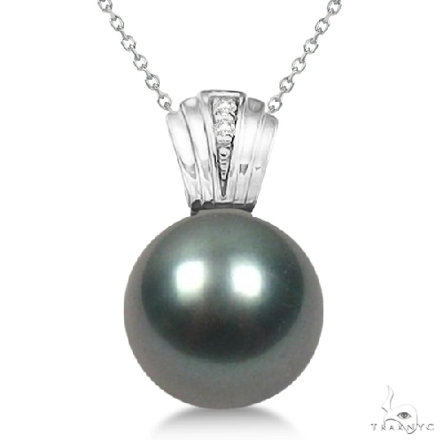 Solitaire Cultured Tahitian Pearl and Diamond Drop 14K White Gold (11mm) Stone