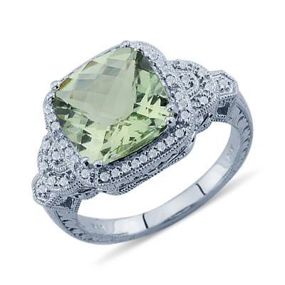 Solitaire Cushion Cut Green Amethyst Diamond Gemstone Ring In 14K White Gold Gemstone Diamond Rings