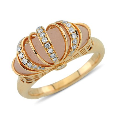 Solitaire Designer Cut Pink Quartz Unique Diamond Gemstone Ring In 14K Rose Gold Anniversary/Fashion