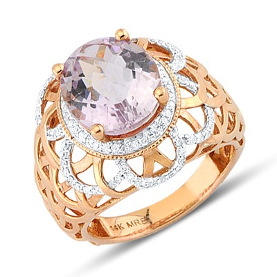 Pink Silver Round Cut Diamond Fashion Ring Size 7 Diamond Row Fashion Ring
