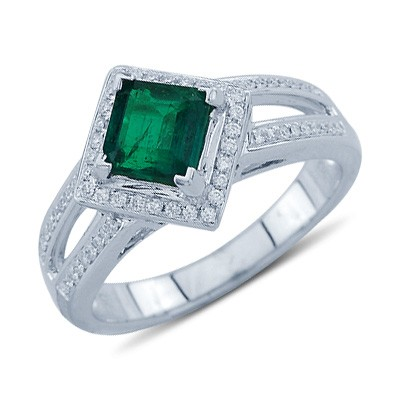 solitaire princess cut emerald and gemstone