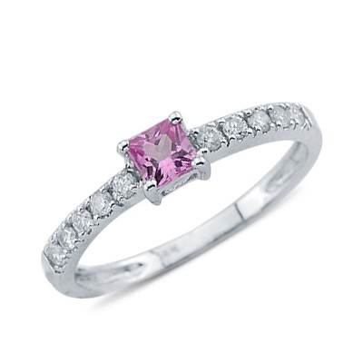solitaire princess cut pink sapphire ring in14k
