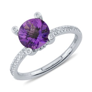 Solitaire Round Cut Purple Amethyst Diamond Gemstone Ring