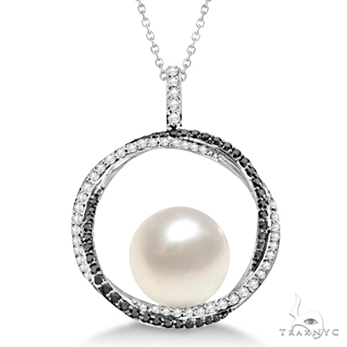 South Sea Pearl Pendant w/ White and Black Diamonds 14K W. Gold (12mm) Stone