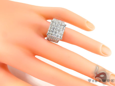 14K White Gold Sparkling Iced Diamond Ring Anniversary/Fashion