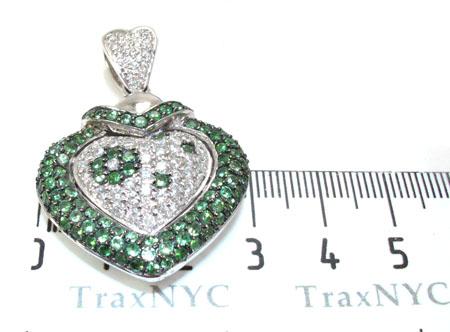 Heart Green Sapphire & Diamond Pendant Stone