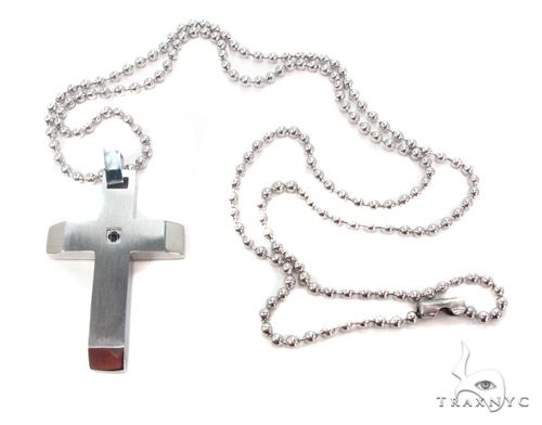 Stainless Steel Cross Crucifix n 24 Inches 2.5mm 16.6 Grams メンズ ステンレススティールクロス