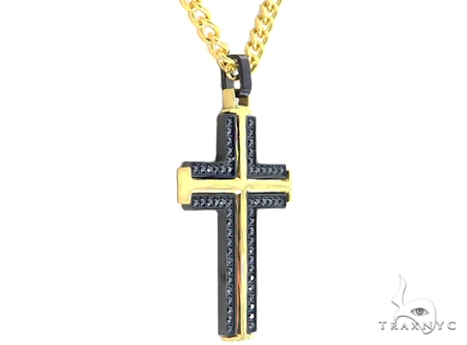 Stainless Steel Cross Pendant Chain Set 57439 Stainless Steel