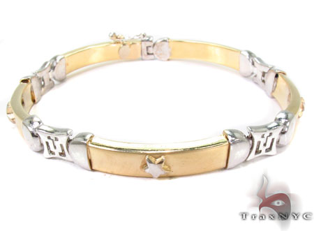 14K Two Tone Gold Star Two Tone Gold Bracelet Gold