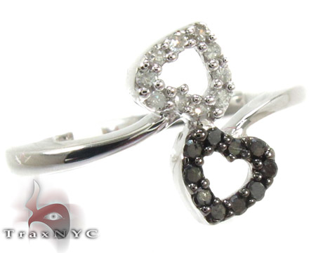 Sterling Silver Double Heart Black and White Diamond Ring 25379 Silver Rings For Women
