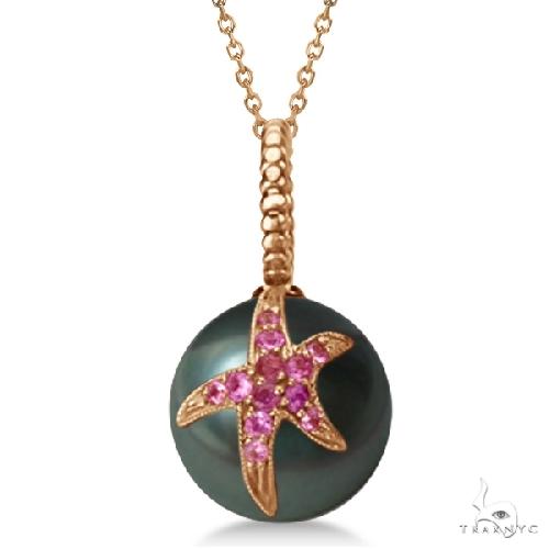 Tahitian Cultured Pearl Starfish Pendant w/ Pink Sapphires 14k Rose G. Stone