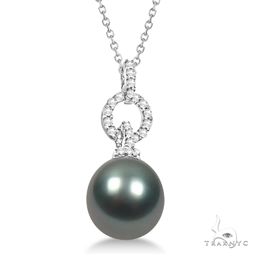 Tahitian Cultured Pearl and Diamond Solitaire Pendant Necklace (11mm) Stone