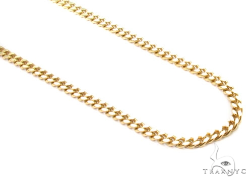 Thin Cuban Link Chain 16 Inches 1mm Mens Gold Chain Yellow
