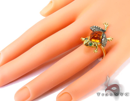 Toad citrine & garnet Diamonds Ring Anniversary/Fashion