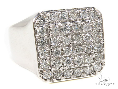 TraxNYC Heavy 14k White Gold Ring Stone