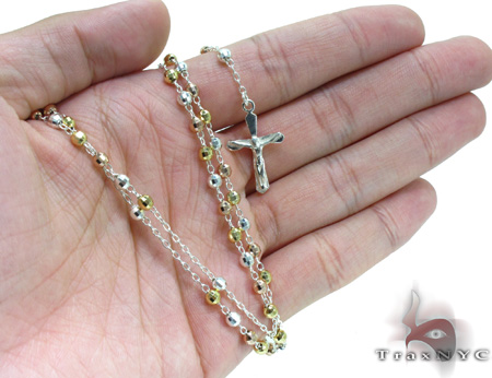 Tri-Color Iced Out Silver Rosary 16 Inches 2mm 7.8 Grams Silver