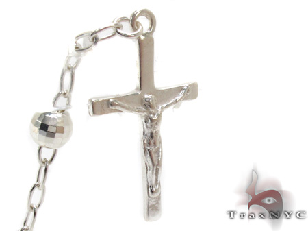 Tri-Color Iced Out Silver Rosary 18 Inches 5mm 18.3 Grams Silver