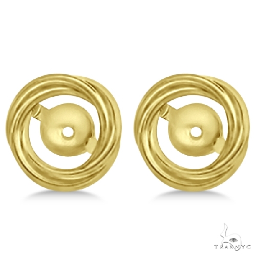 Twisted Rope Earring Jackets for Studs up to 10.50mm 14K Yellow Gold Metal
