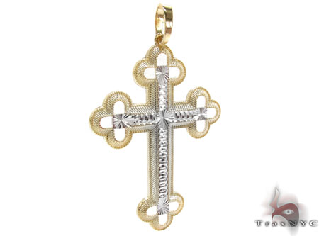 Two Tone 14K Gold Cross Gold