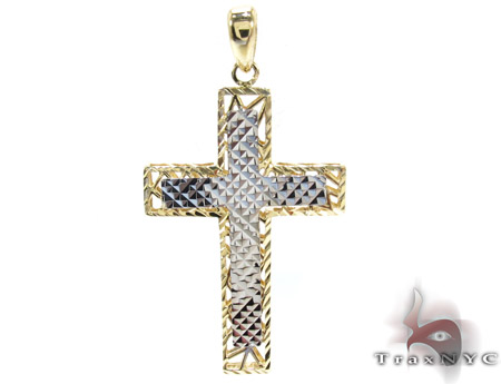 Two tone 14k gold cross crucifix mens gold cross pendant two tone two tone 14k gold cross crucifix mozeypictures Image collections