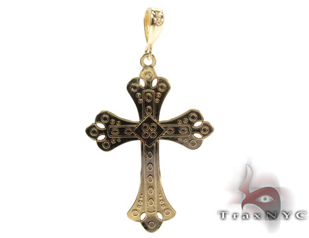 14K Gold Two Tone Ornate Cross Pendant Gold