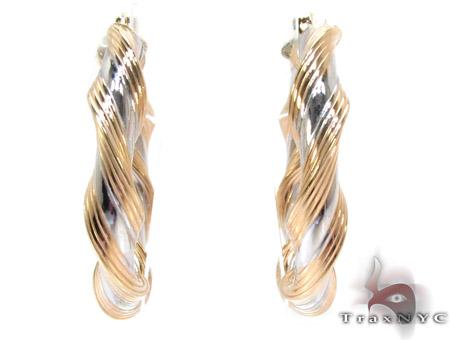 Two Tone 14k Gold Twine Hoop Earrings Las Earring