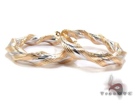 Two Tone 14K Gold Twine Hoop Earrings Metal