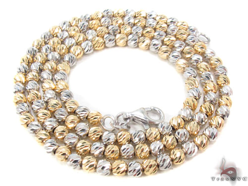 Two Tone Gold Disco Ball Chain 16 Inches 2mm 10.4 Grams Gold