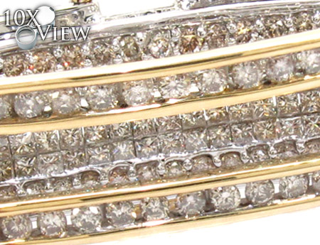 Two Tone Gold Round Princess Cut Channel Diamond Bangle Bracelet Bangle